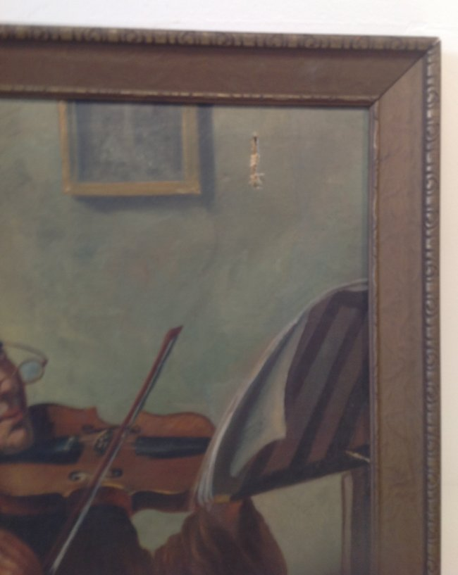 J. Fox painting Monk / Friar playing the Violin. - 3