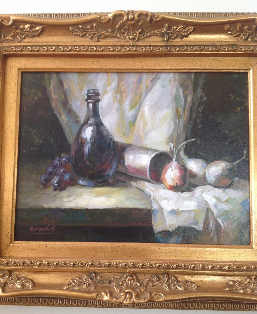 Gorgeous Signed Oil Painting Wine/ Fruits Image 24 x 19 - 2