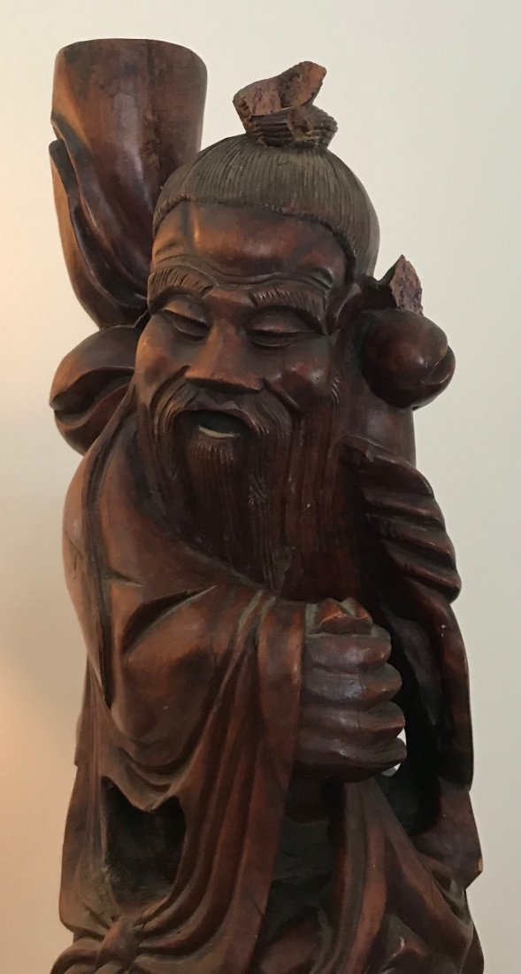 Folk Chinese Robust Wood Carved Figure 22 H - 2