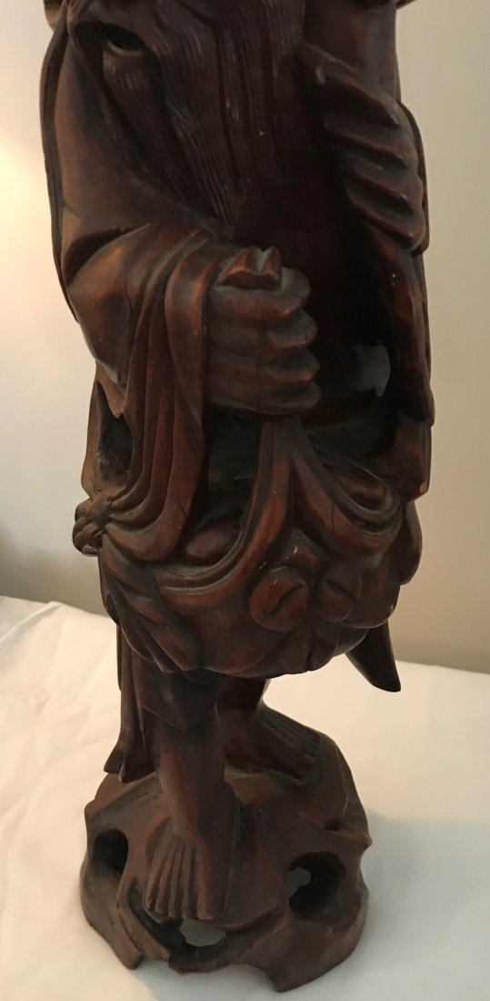 Folk Chinese Robust Wood Carved Figure 22 H - 3