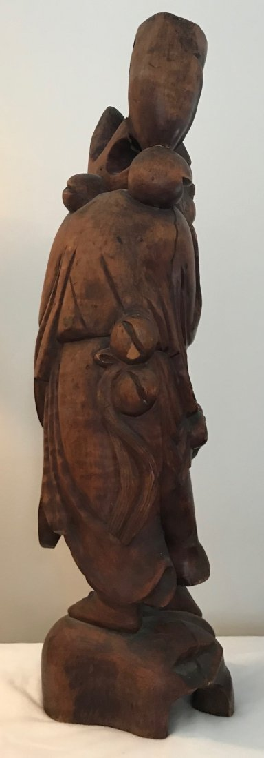 Folk Chinese Robust Wood Carved Figure 22 H - 4