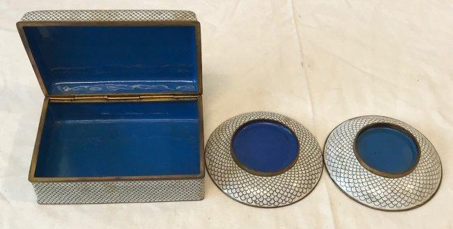 Gorgeous Cloisonne Trinket Box W/ 2 Trays - 2