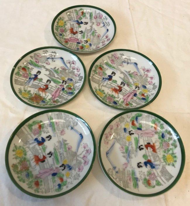 Five Japanese Dip Saucers 4.5 Rim Diameter