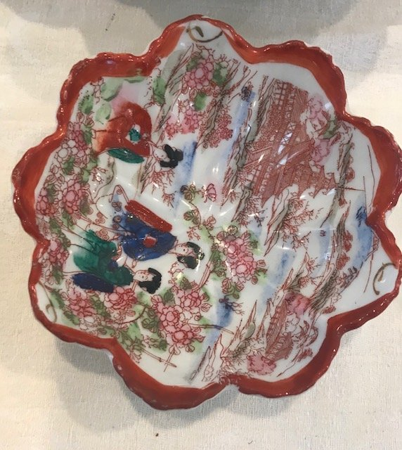 Vintage Japanese rice plate 5 Rim Diameter - 3