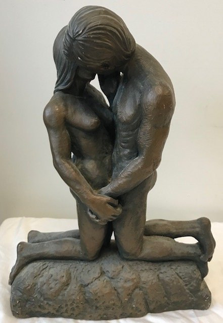 SIGNED Heavy  Bronze Male Female Bust 16 H