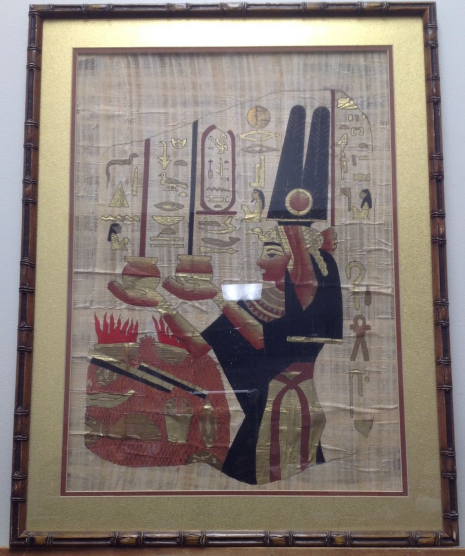 Framed Egyptian Papyrus Painting on Plant Paper - 2