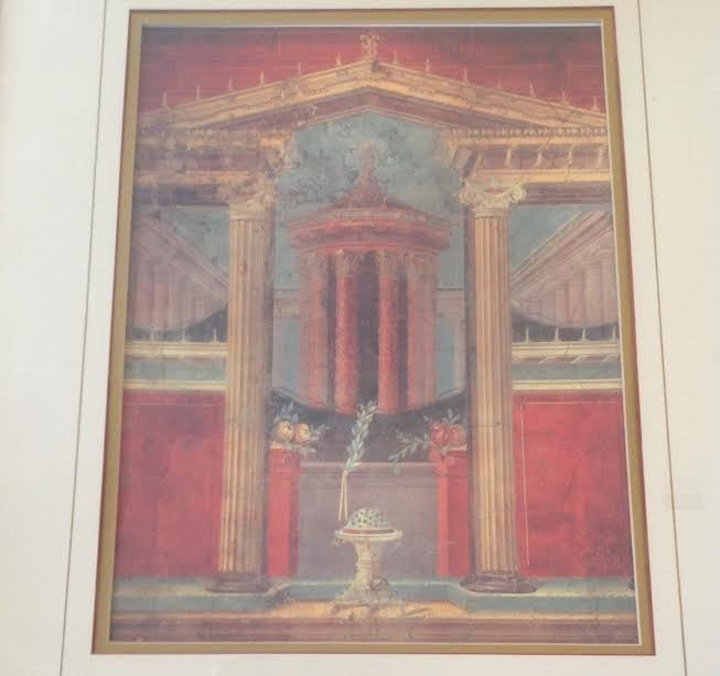 ROMAN COURTYARD LITHOGRAPH PRINT CIRCA- 40 BC 16 X 11