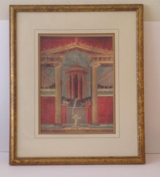 ROMAN COURTYARD LITHOGRAPH PRINT CIRCA- 40 BC 16 X 11 - 2