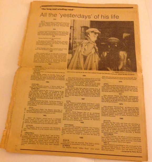 JOHN LENNON DAILY NEWS NEWSPAPER-HIS LIFE & TIMES - 3