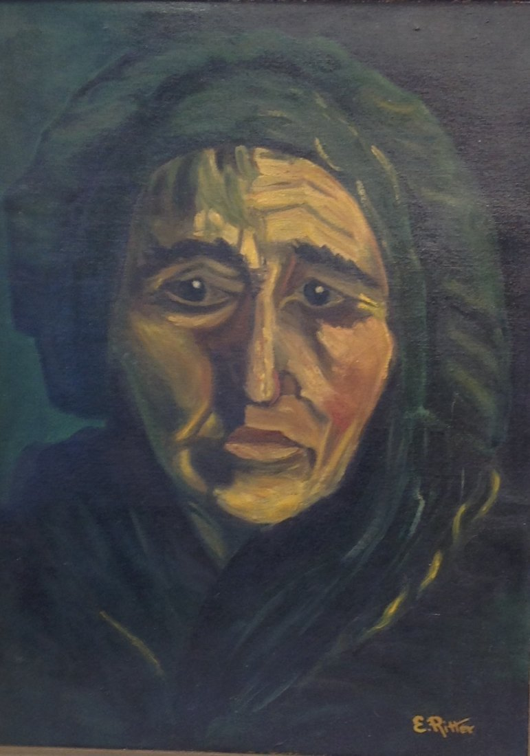 SIGNED E. RITTER OIL PAINTING WOMAN PORTRAIT