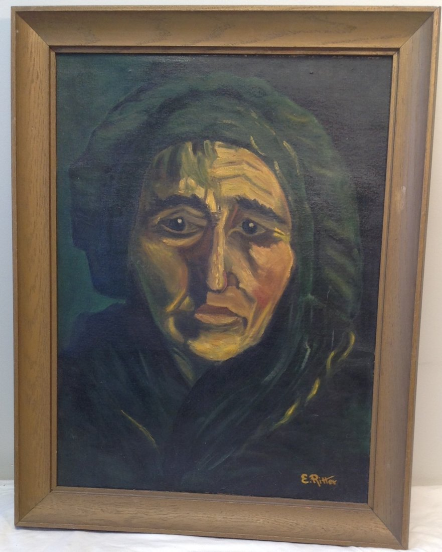 SIGNED E. RITTER OIL PAINTING WOMAN PORTRAIT - 2