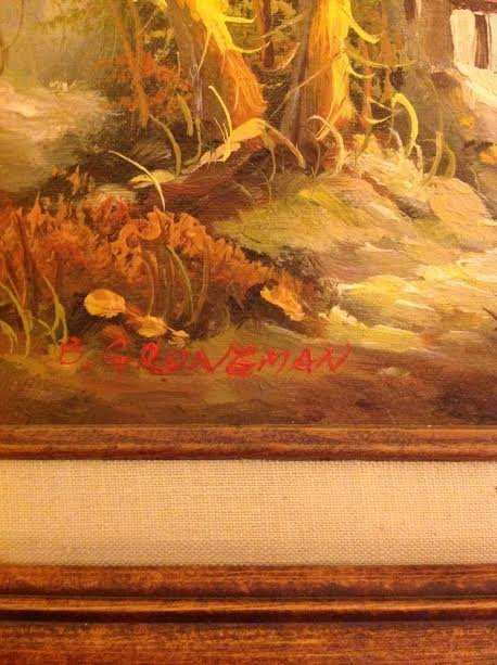 SIGNED B GRONGMAN OIL PAINTING 16 X 18 - 3