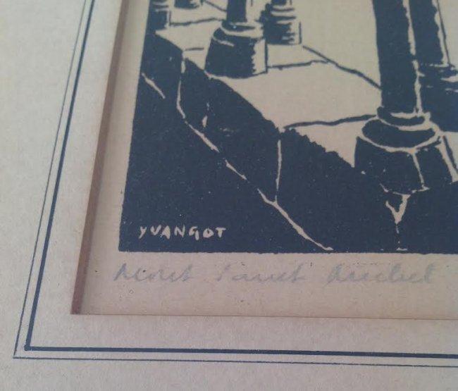 Jean Baptiste Yvangot Etching Print 11 x 9 - 4