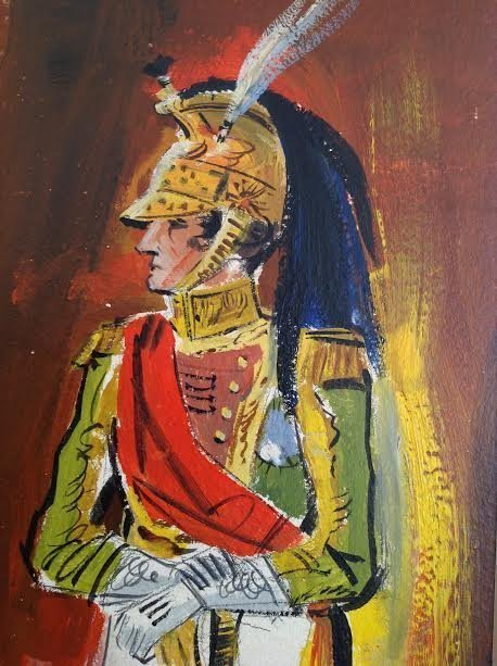 SIGNED MEXICAN TROOP LEGIONNAIRE PAINTING 24 X 11