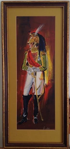 SIGNED MEXICAN TROOP LEGIONNAIRE PAINTING 24 X 11 - 2