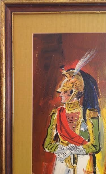 SIGNED MEXICAN TROOP LEGIONNAIRE PAINTING 24 X 11 - 5
