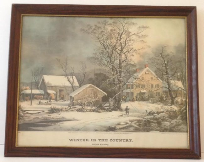 CURRIER & IVES -WINTER IN COUNTRY LITHOGRAPH 21 X 17