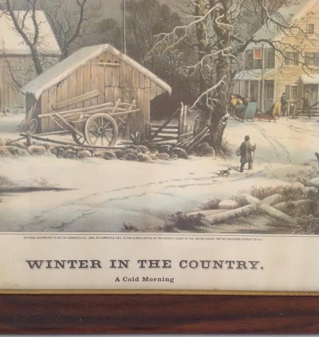 CURRIER & IVES -WINTER IN COUNTRY LITHOGRAPH 21 X 17 - 3