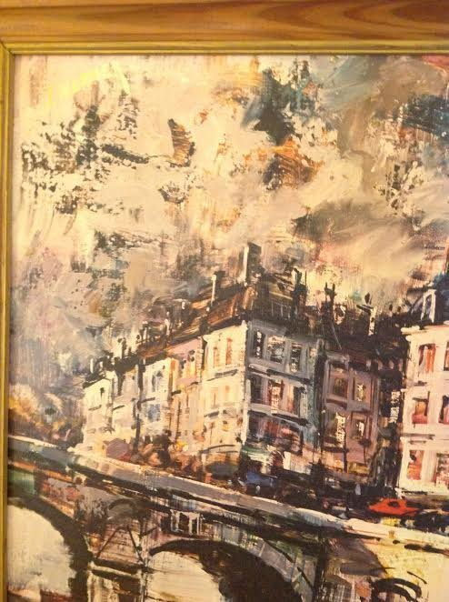 SIGNED OIL PAINTING BY J WARNER 32 X 25 - 4