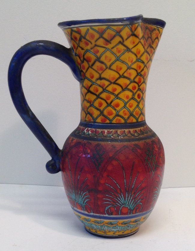 Signed Multi - Color Water Pitcher- Late 20th Century