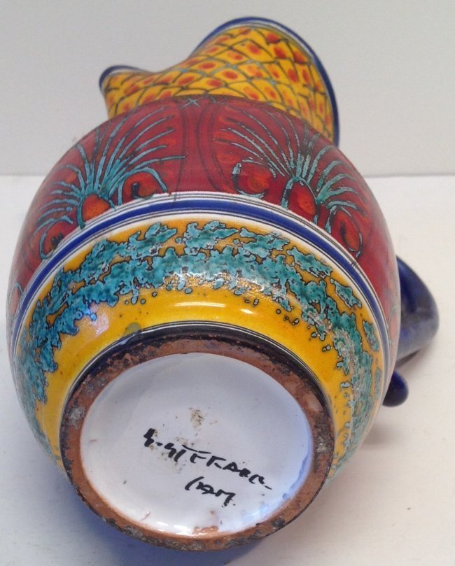 Signed Multi - Color Water Pitcher- Late 20th Century - 3