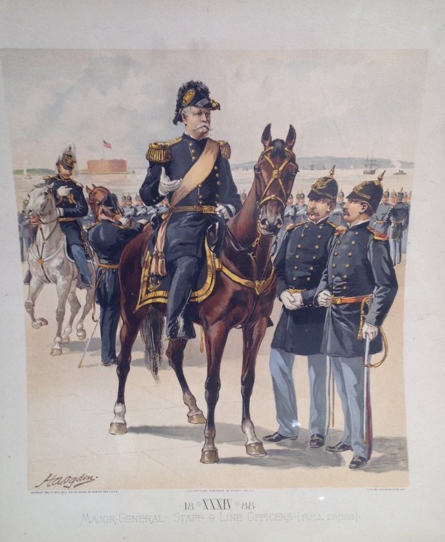 Vintage Ha Odgen Print - Major-General Staff c.1888
