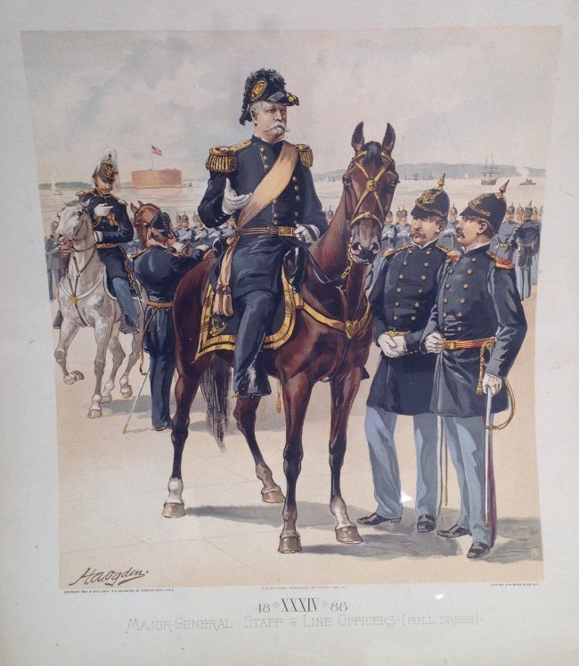 Vintage Ha Odgen Print - Major-General Staff c.1888 - 2