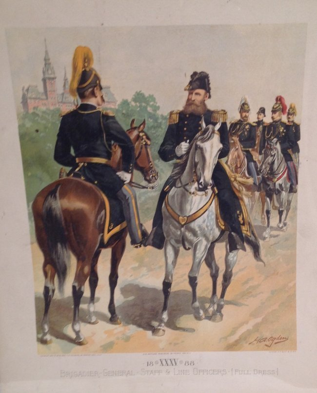Vintage Ha Odgen Print: Brigadier-General Staff c.1888