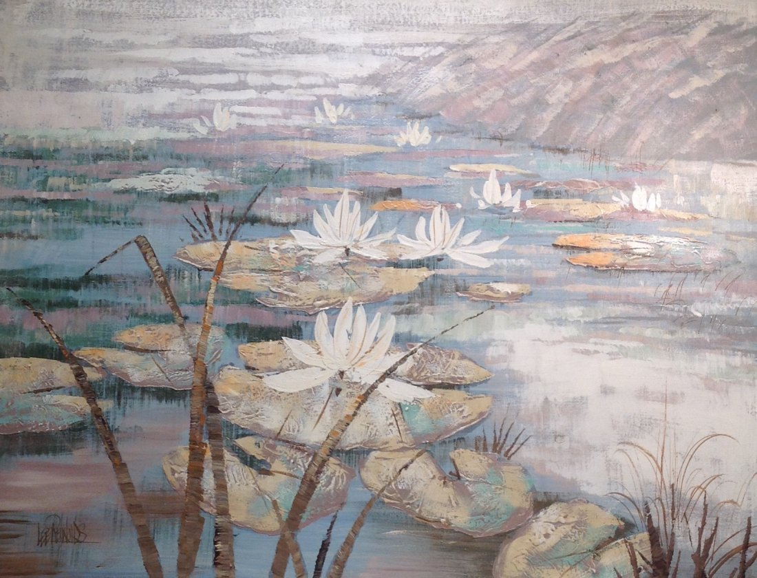 Lee Reynolds Painting of Lilly Pods/ Lake