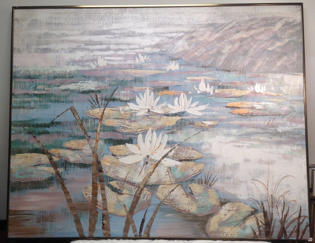 Lee Reynolds Painting of Lilly Pods/ Lake - 2