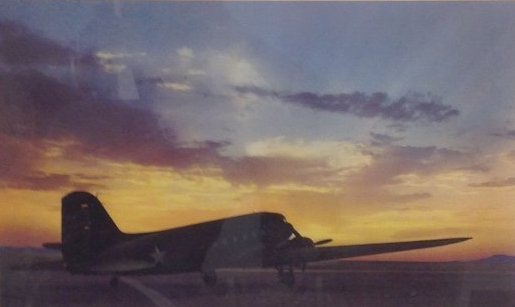 Color Photograph - C-47 on a Runway/ Sunset Back Ground