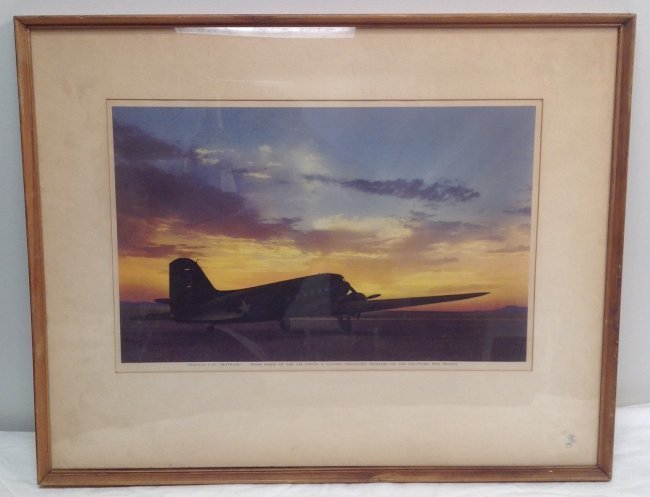 Color Photograph - C-47 on a Runway/ Sunset Back Ground - 2