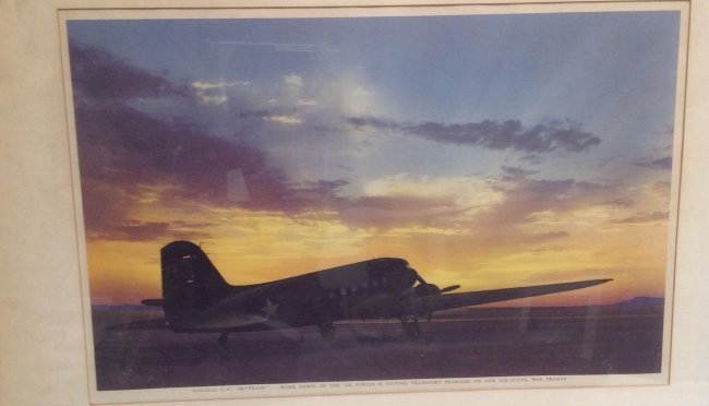 Color Photograph - C-47 on a Runway/ Sunset Back Ground - 3