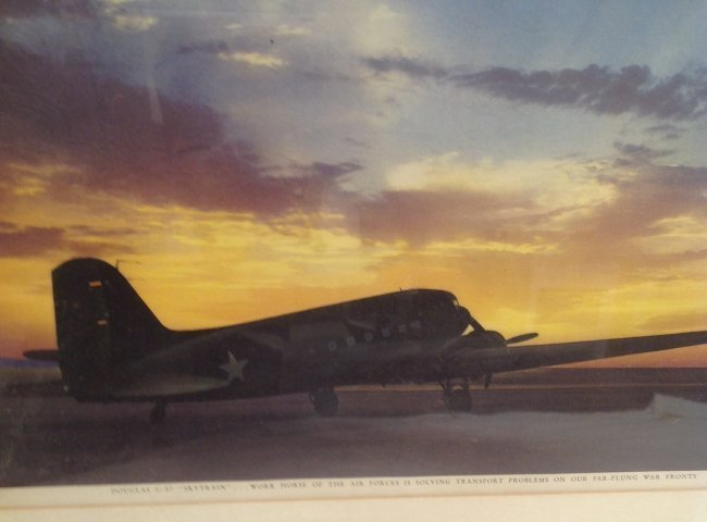 Color Photograph - C-47 on a Runway/ Sunset Back Ground - 4