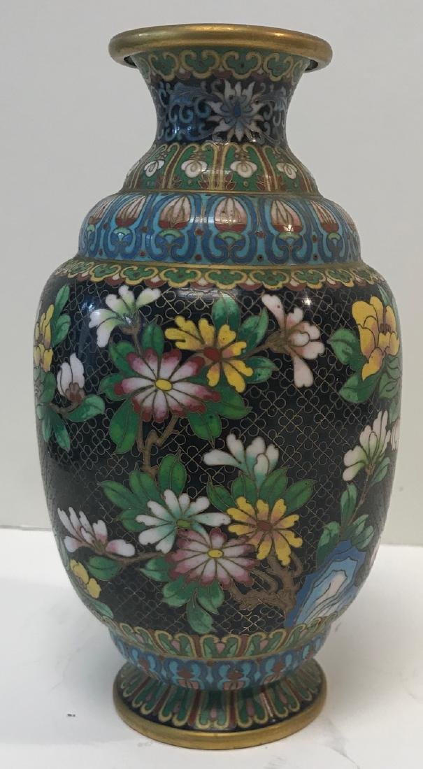 Antique Floral Cloisonne vase - 2