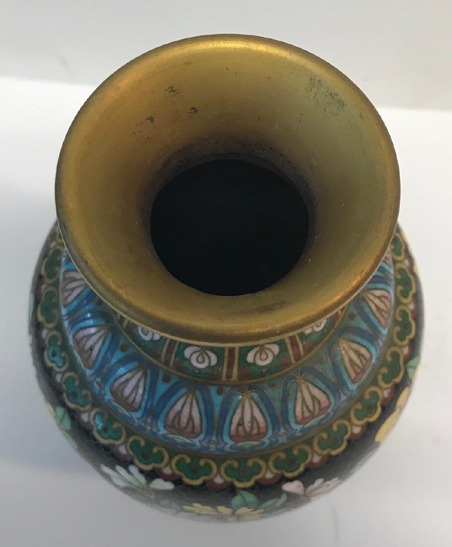 Antique Floral Cloisonne vase - 3