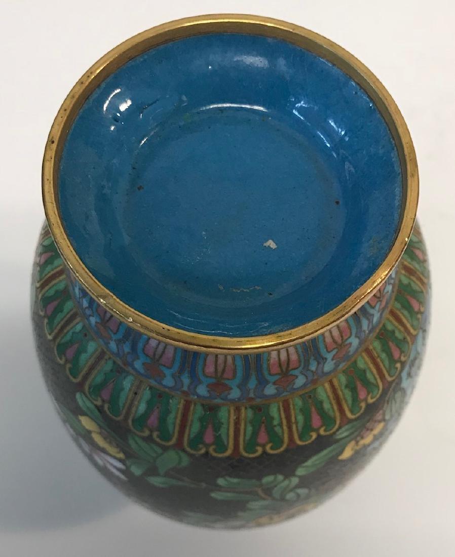Antique Floral Cloisonne vase - 4