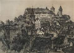 Signed Etching of Historic Castle Building Image 15 x
