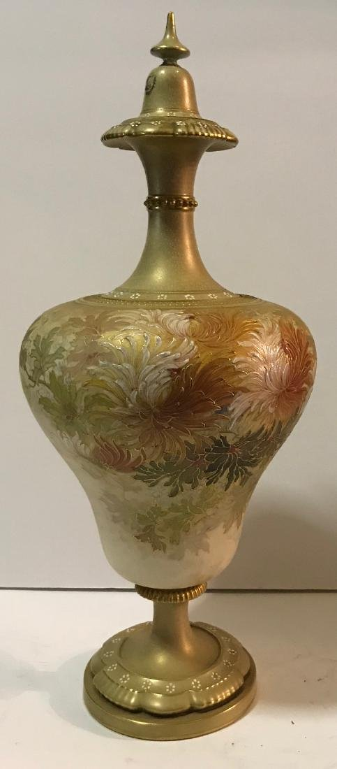 Antique Royal Doulton floral vase with cover