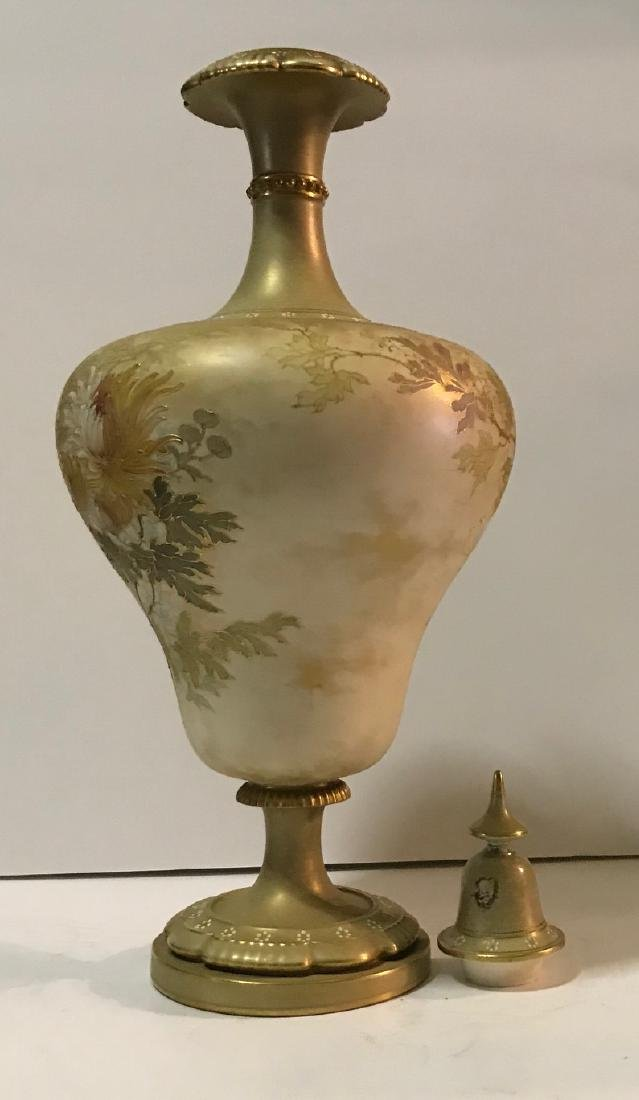 Antique Royal Doulton floral vase with cover - 3