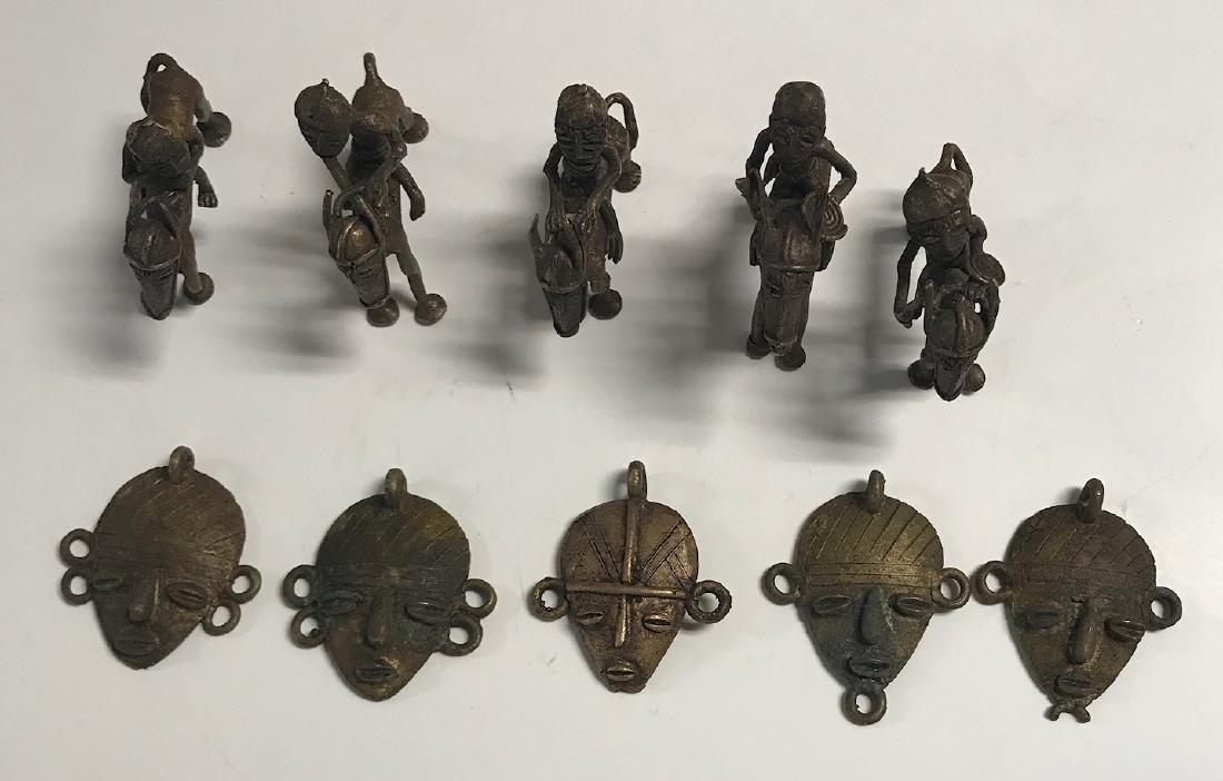 10 Brass Africa Benin Rep Small primitive figurines - 2