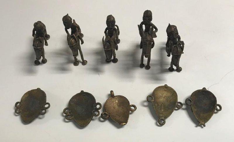 10 Brass Africa Benin Rep Small primitive figurines - 5