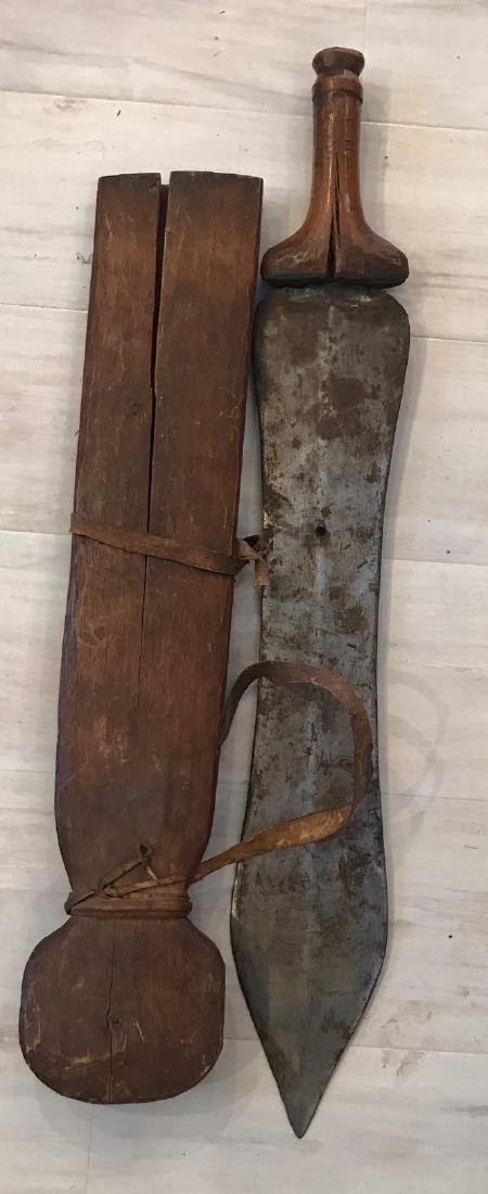 African Primeval 20th century Machete with Scabbard - 6