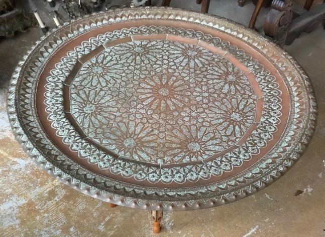 Gorgeous Bronze Moroccan Tray /table With base