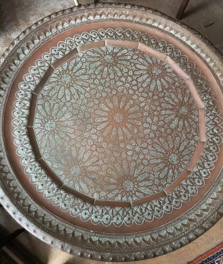 Gorgeous Bronze Moroccan Tray /table With base - 2