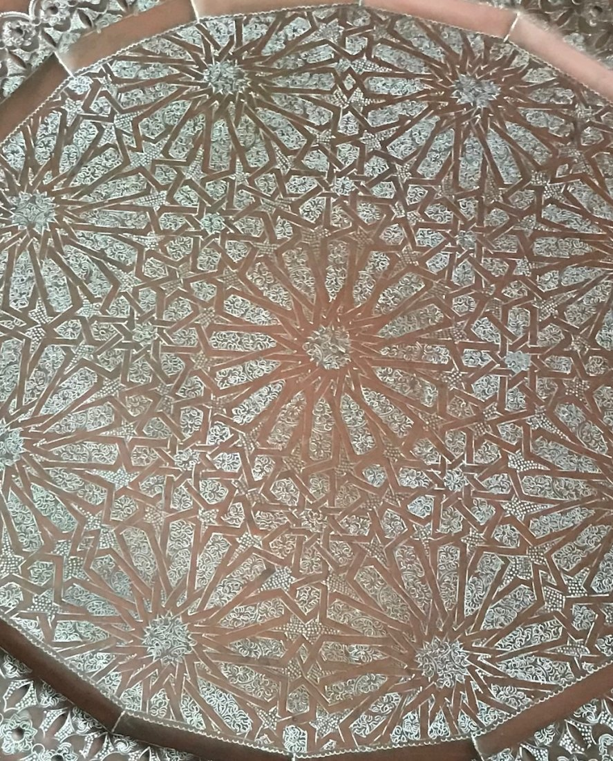 Gorgeous Bronze Moroccan Tray /table With base - 5