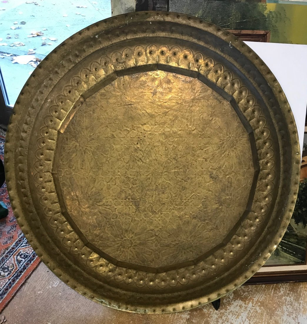 Gorgeous Bronze Moroccan Tray /table With base - 6