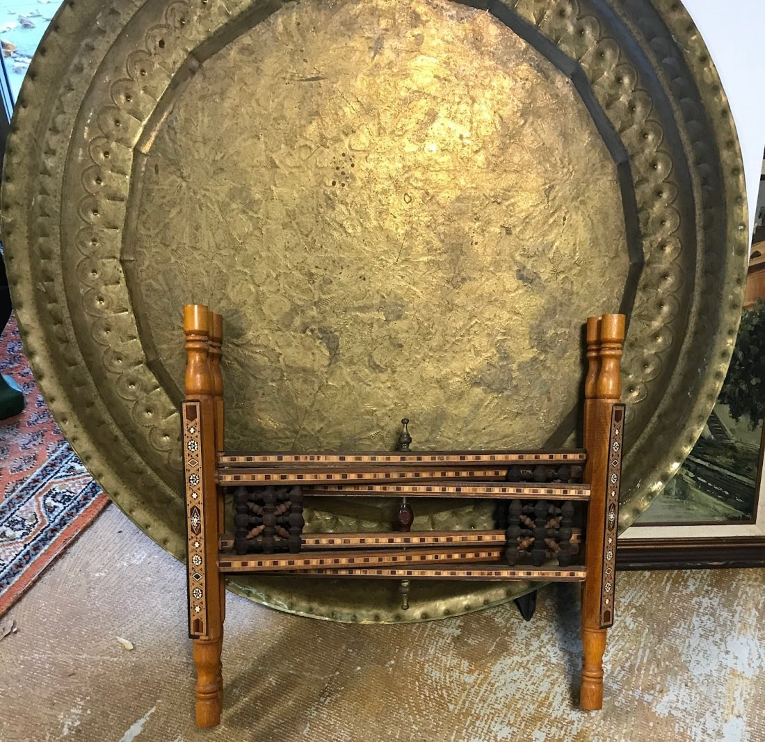 Gorgeous Bronze Moroccan Tray /table With base - 7