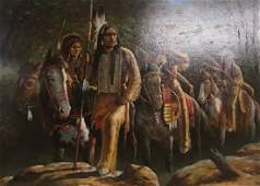 K Montiel Native American warriors Oil on Canvas