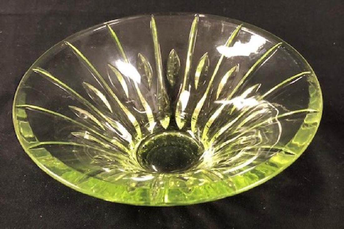 Splendid Vintage  Green Cut Glass Bowl